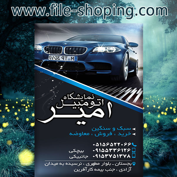 کارت ویزیت لایه باز نمایشگاه اتومبیل کد6
